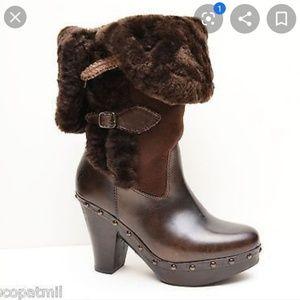 Frye Ella brown tall shearling clog boots size 10